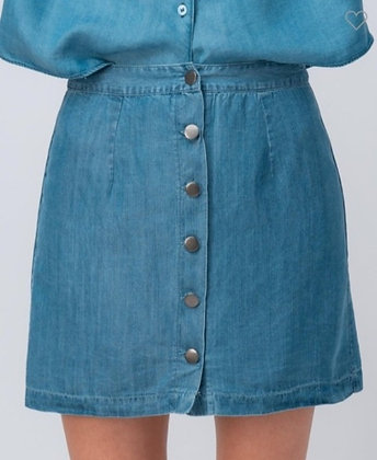 Chambray Button Detail Denim Skirt