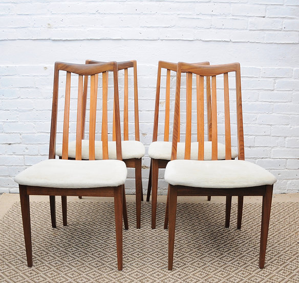 G PLAN DINING CHAIRS WITH WHITE PADS