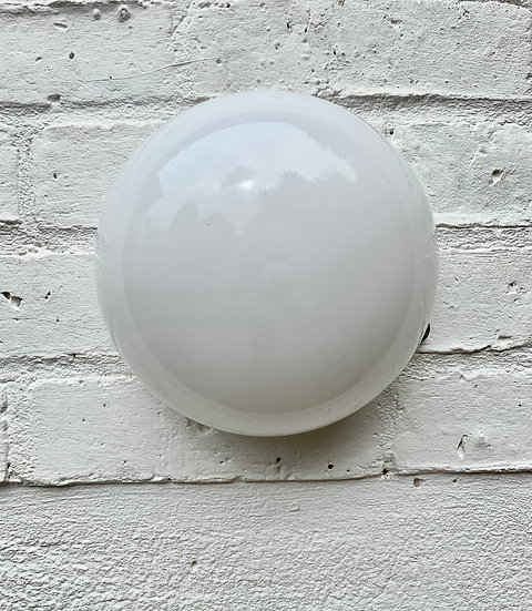 Vintage Deco Wall Ceiling Light White Opal Glass front