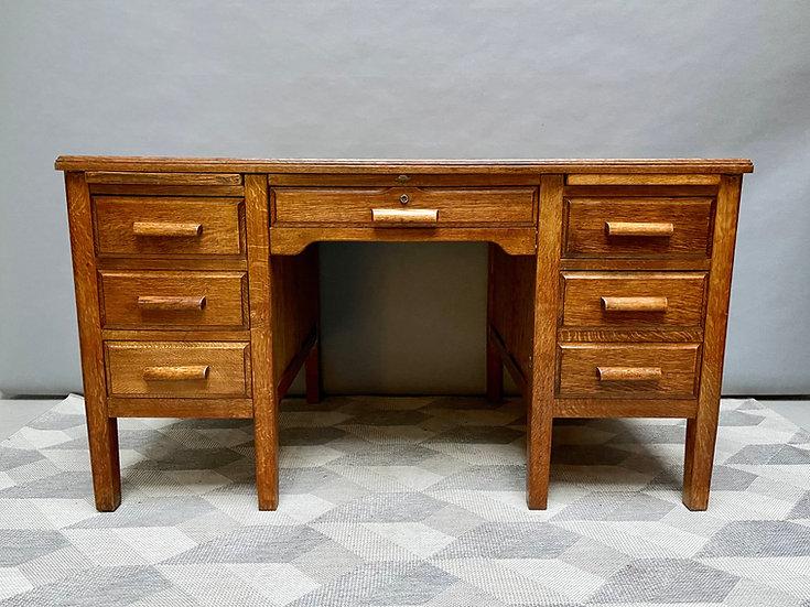 Large Vintage Wooden Desk with Drawers Oak front