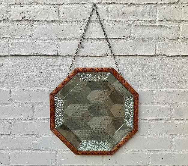 Octagonal Wall Mirror Wood Frame #478