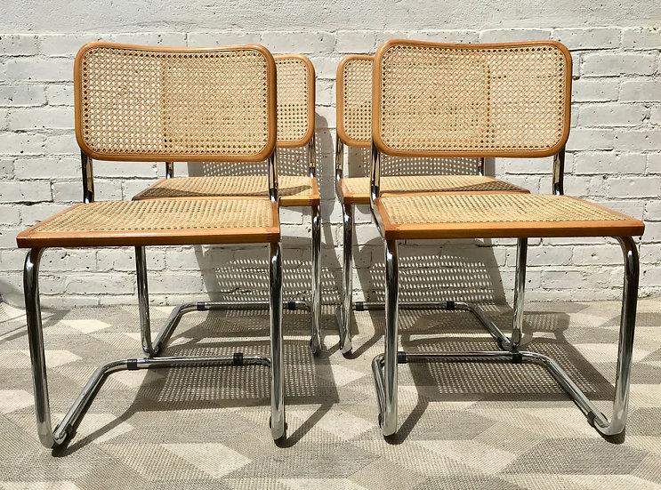 Set of 4 Marcel Breuer Chairs Wicker Wood #773
