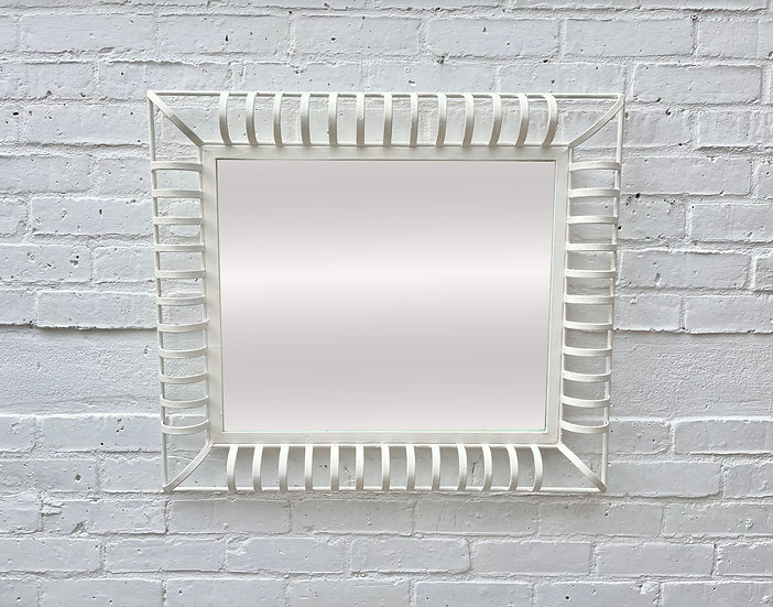 Vintage Industrial Style Rectangular Mirror with Metal Frame