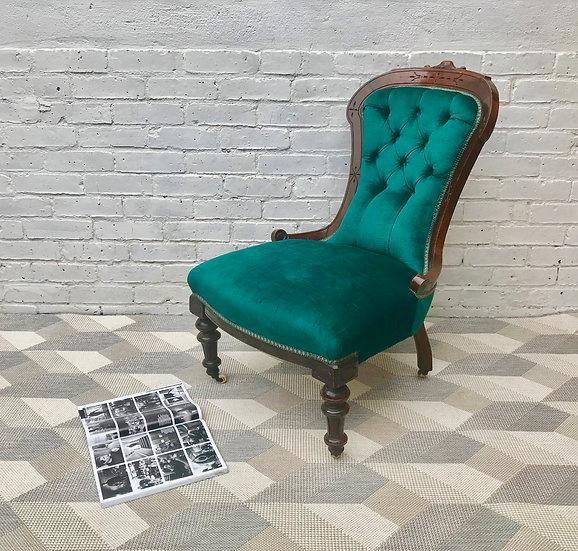 Victorian Slipper Nursing Chair Teal Turquoise #473