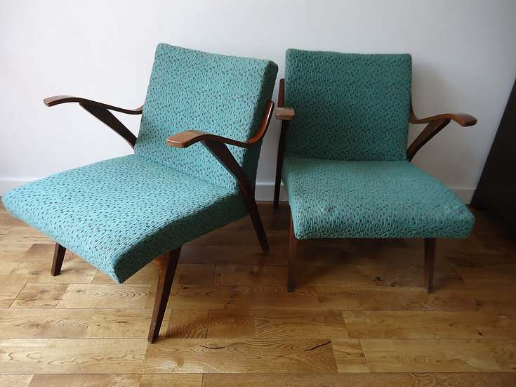 PAIR OF TURQUOISE ARM CHAIRS