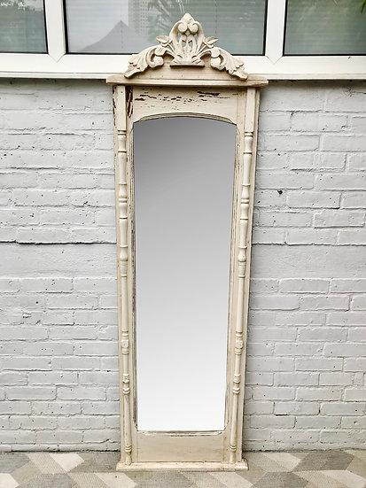 Vintage Full Length Mirror White Wood Frame French #704