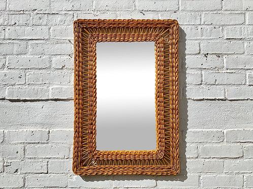 Vintage Rectangular Wicker Mirror #D448