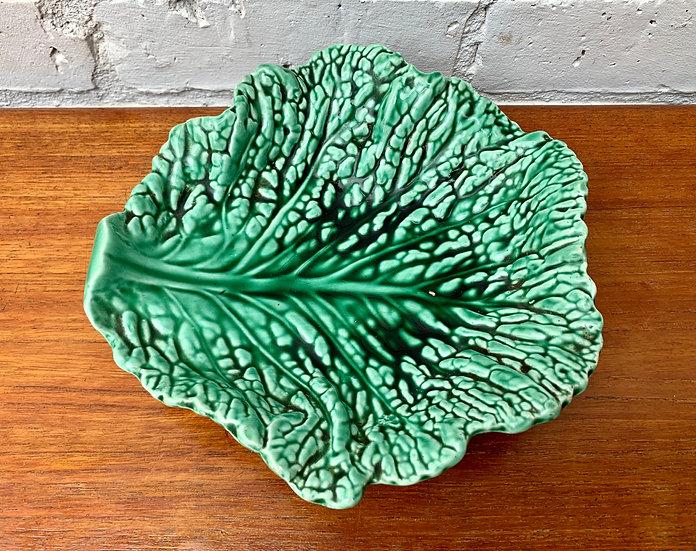 Vintage Cabbage Leaf Bowl Plate #D481
