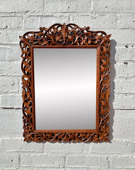 Vintage Wall Mirror Carved Wood front