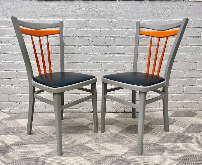 Pair of Vintage Kitchen Dining Chairs with Vinyl Seats corner