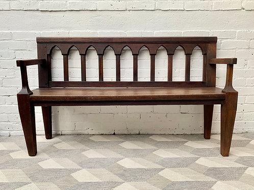 Antique Gothic Revival Hall Bench Oak front