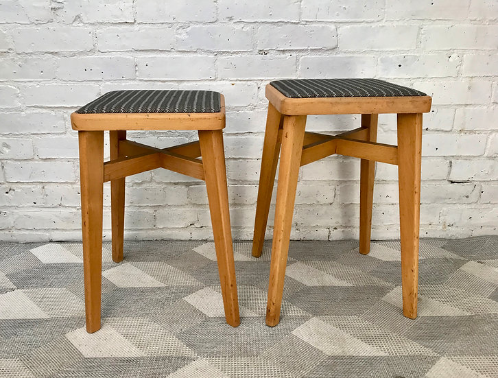 Pair of Vintage Wooden Stools Kitchen Dining #451