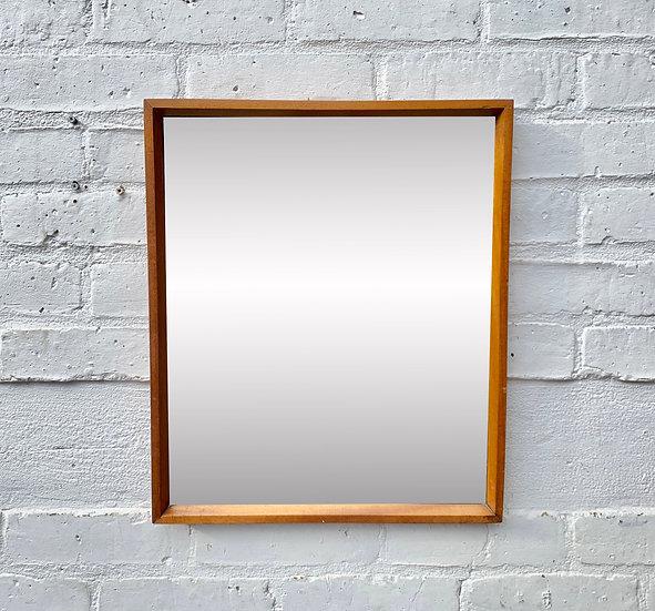 Small Vintage Rectangular Mirror Teak Frame #D358