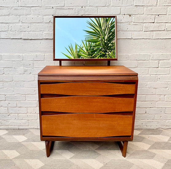 Vintage Chest of Drawers with Mirror White & Newton #D177