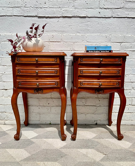 Pair of Bedside Tables French Vintage Drawers #D144