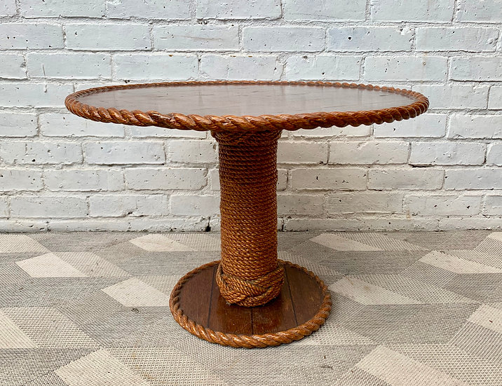 Vintage Round Coffee Table with Rope Nautical Style side