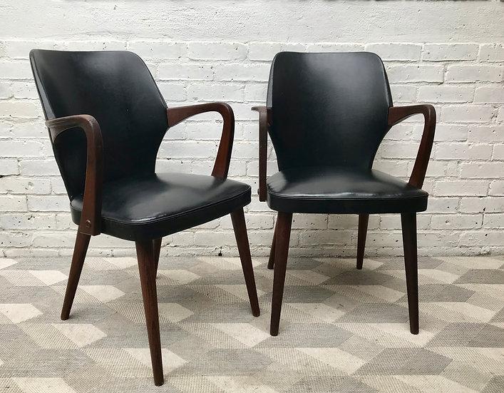 Pair of Vintage Carver Chairs Black Vinyl Teak #890