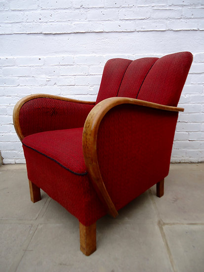PAIR OF RED ARMCHAIRS