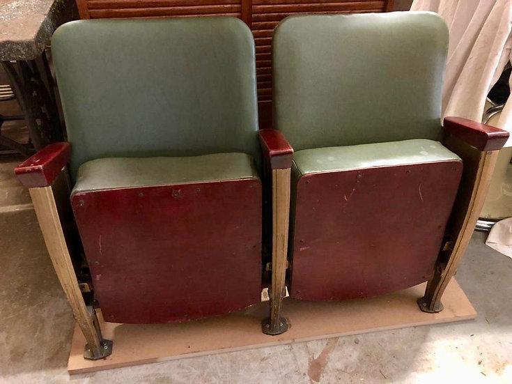 Vintage Cinema Theatre Seats Green Vinyl #D153
