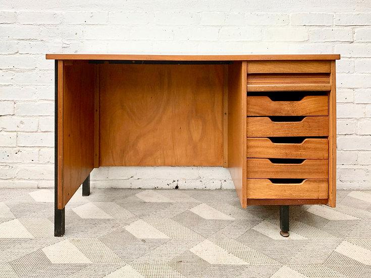 Vintage Desk with Drawers Teak Formica  open