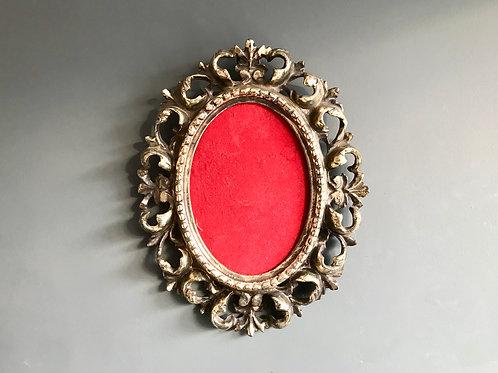 Vintage Oval Picture Frame Metal Silver #560