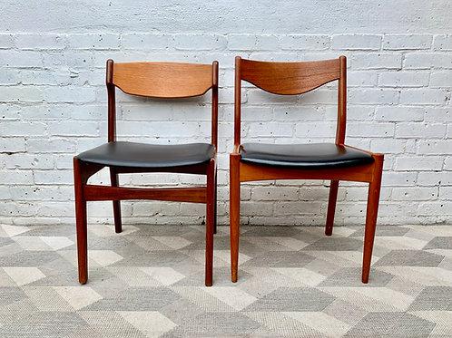 Vintage Black Vinyl Dining Chairs x 2 Teak #D137