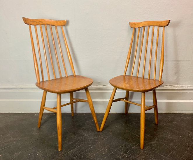 Pair of Vintage Dining Chairs Wooden #D48