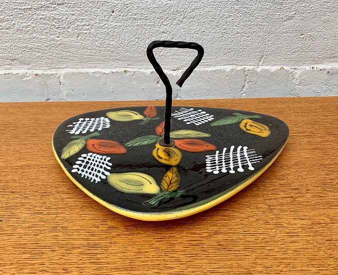 Vintage Ceramic Cheese Platter Black #D30