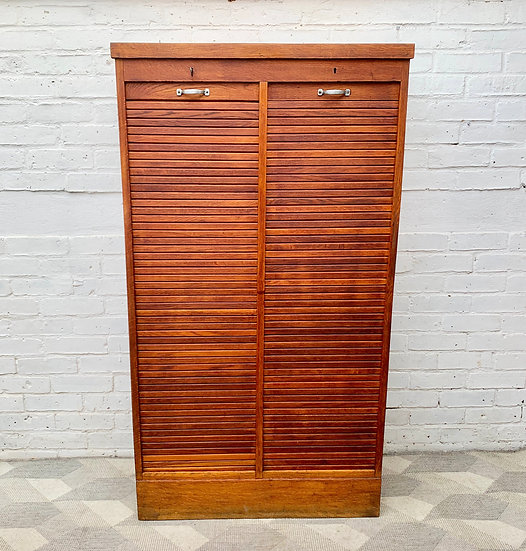 Vintage Double Tambour Filing Cabinet Haberdashery #D311