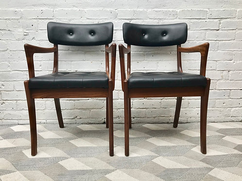 Mid Century Teak Carver Chairs - Pair #524
