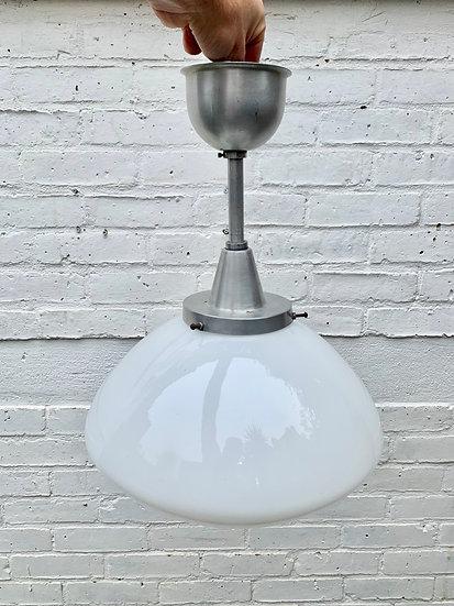 Art Deco Pendant Light with Opal Glass Shade #D320