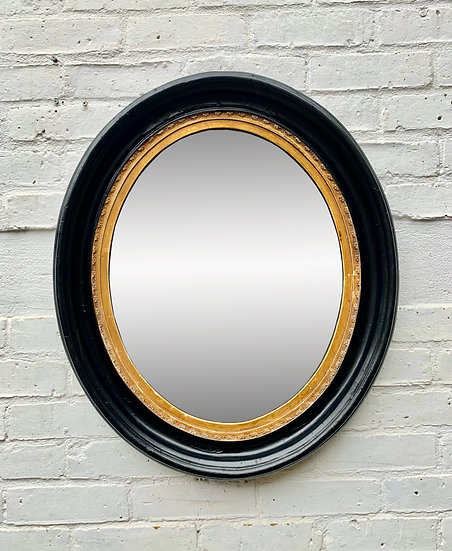Antique Oval Wall Mirror Black Frame #D317