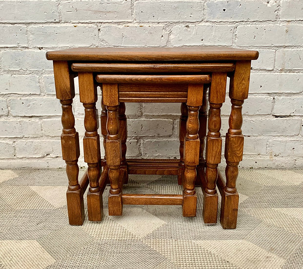 Vintage Set of 3 Nested Tables Solid Wood front
