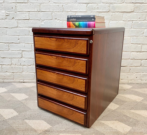 Small Rosewood Filing Cabinet