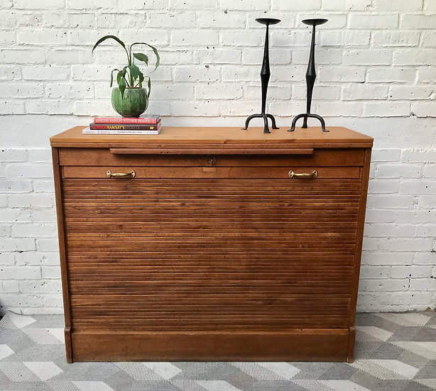 Large Vintage Tambour Sideboard Cupboard Oak #881