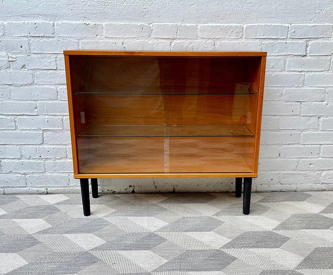 Small Vintage Glass Bookshelf Cabinet