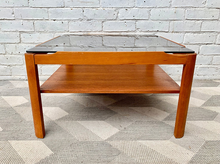 Vintage Glass Coffee Table Teak #D172