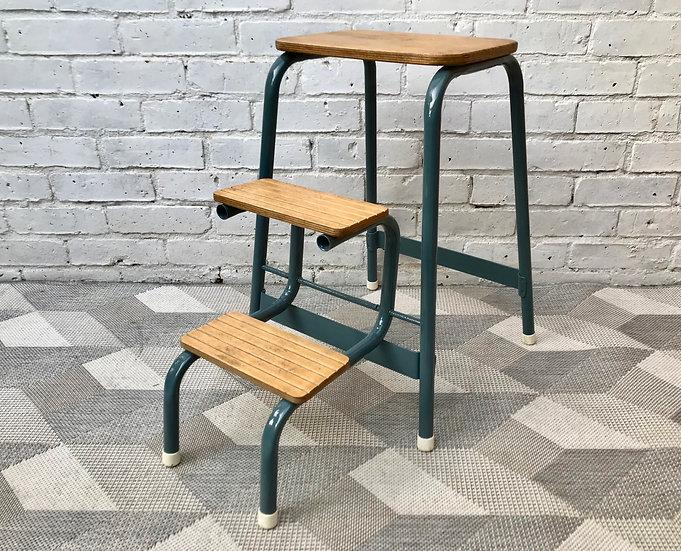 Vintage Folding Step Ladder Stool Blue #579