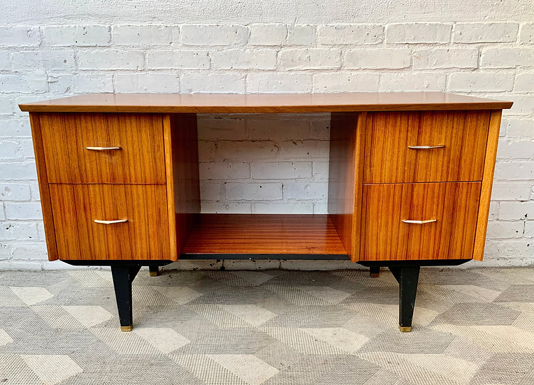 Vintage Wooden Desk with Drawers #D342