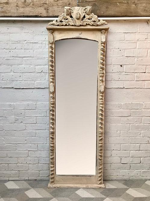 Vintage Full Length Mirror White Wood Frame French #651
