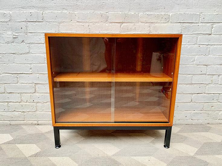 Small Vintage Teak Bookshelf with Glass doors #D472