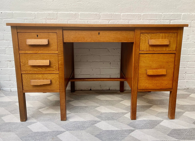 Vintage Wooden Desk with Drawers  front