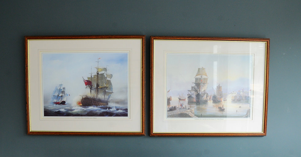 PAIR OF TALL SHIP FRAMED PRINTS
