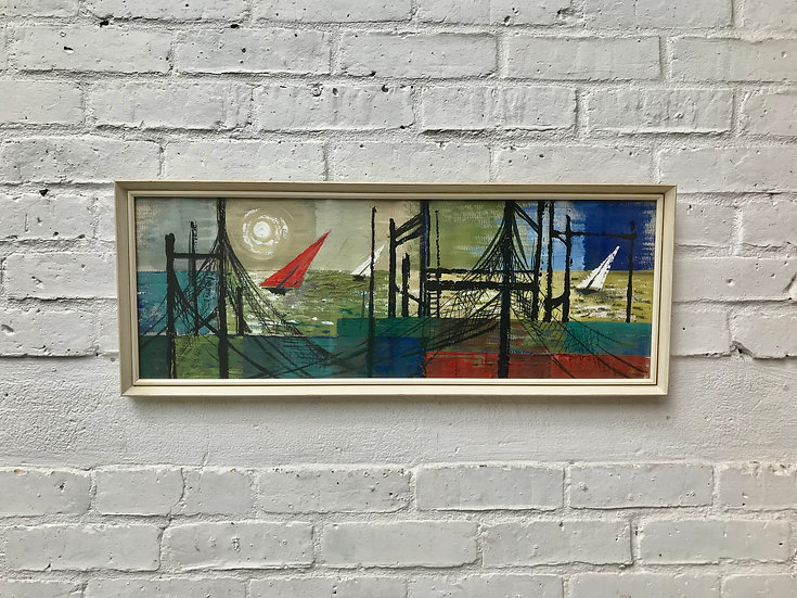 Mid Century Abstract Painting of Seascape Boats #784