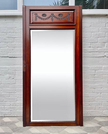 Large Edwardian Mahogany Floor Mirror front