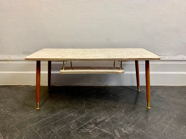 Vintage Coffee Table With Shelf Formica #D12