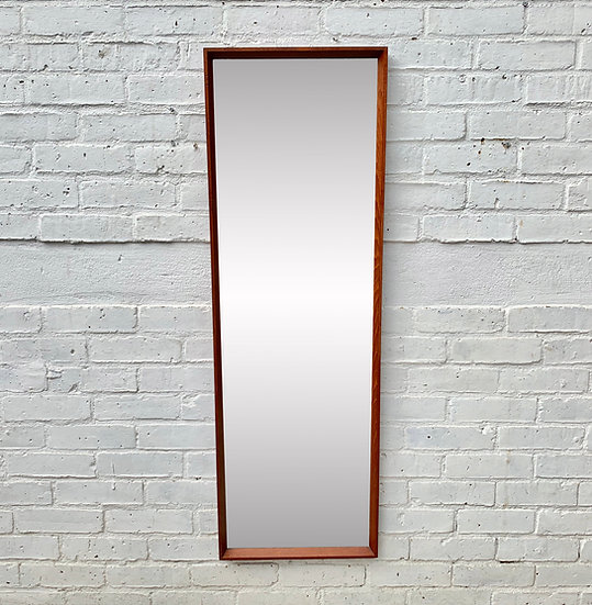 Vintage Rectangular Mirror Teak Frame #D356