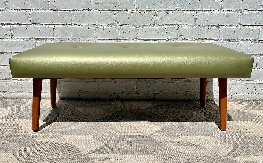 Vintage Vinyl Footstool Ottoman Green side