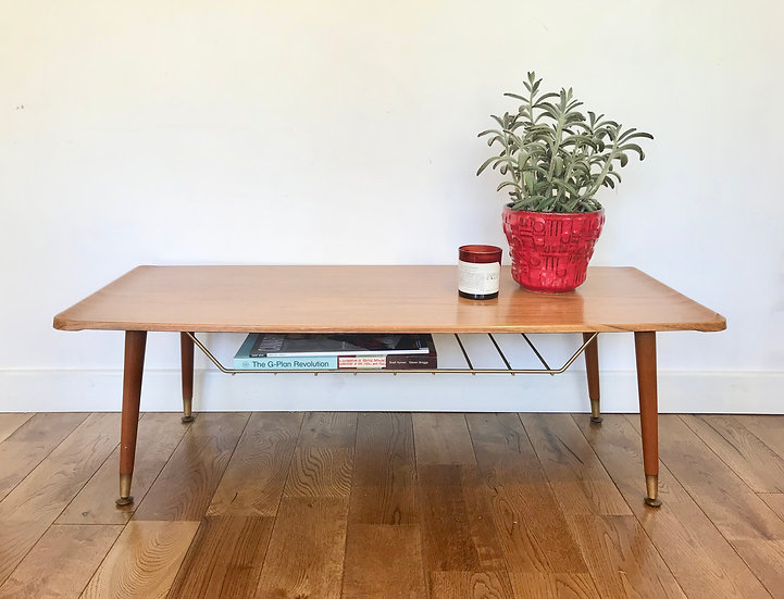 Vintage Retro Coffee Table With Shelf #471