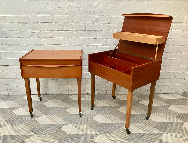 Pair Vintage Bedside Tables Sewing Box #496